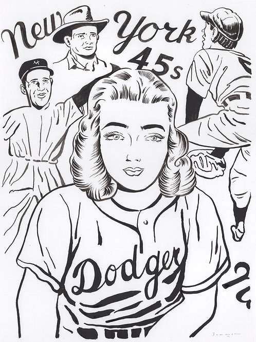 Stella pitching for the Dodgers