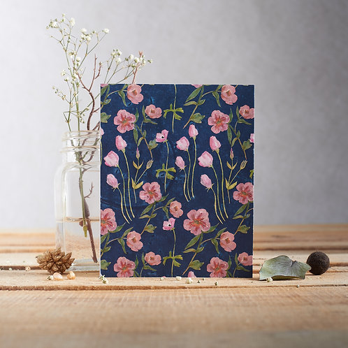 Plantable Greetings Card - Blue & Pink Rose and Lisianthus