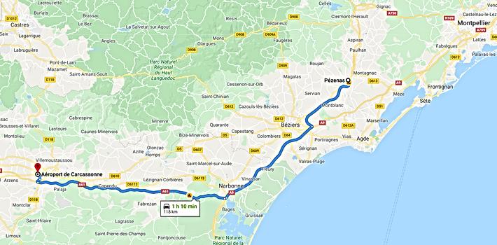 Trajet Pézenas vers Aéroport Carcassonne Sud de France