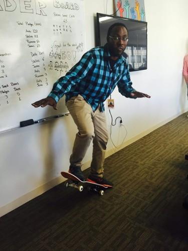 Fundraiser leader on skateboard
