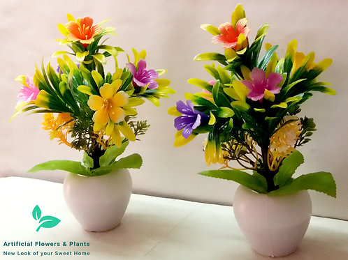 Pair of Colorful Flower Tree Plant
