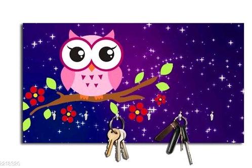 Purple Owl Wall Key Holder