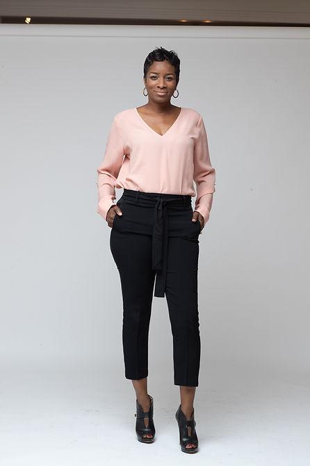JillianBlackwell Pinkshirt Black Slacks.