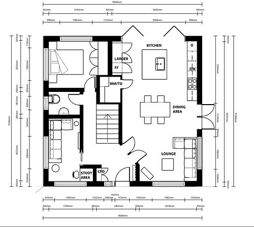 Furniture and Space Room Design Plan