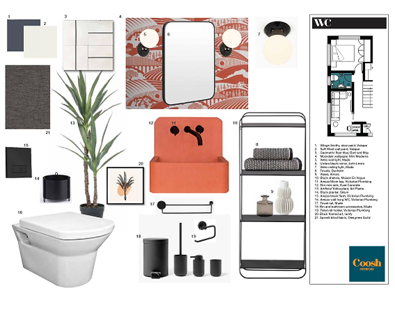 Sample Board/product sheet for retro bathroom design