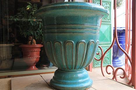 grand vase a godron 90cm turquoise
