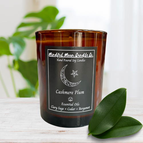 Dark Plum Cashmere Scented Vegan Soy Candle 8.5 oz