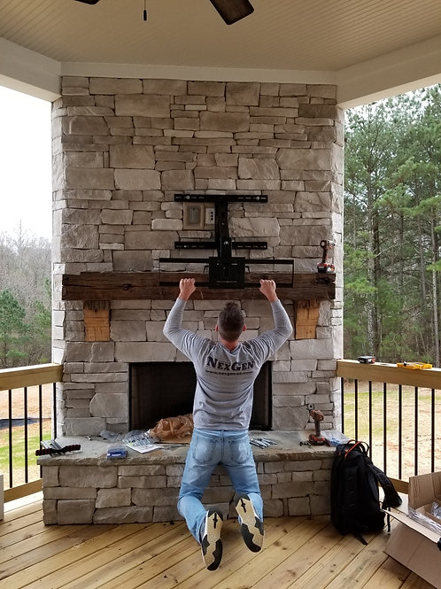 Pull Down Mount Stone Fireplace