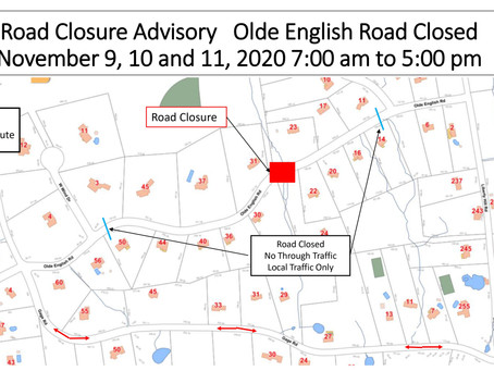 Road Closure Advisory – Olde English Road – November 9, 10 and 11, 2020