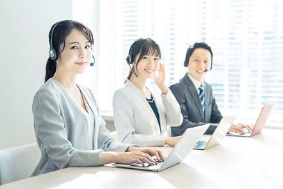 Group of asian operator. Call center. Cu