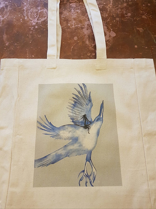 Organic Cotton Shopper: Blue Bird