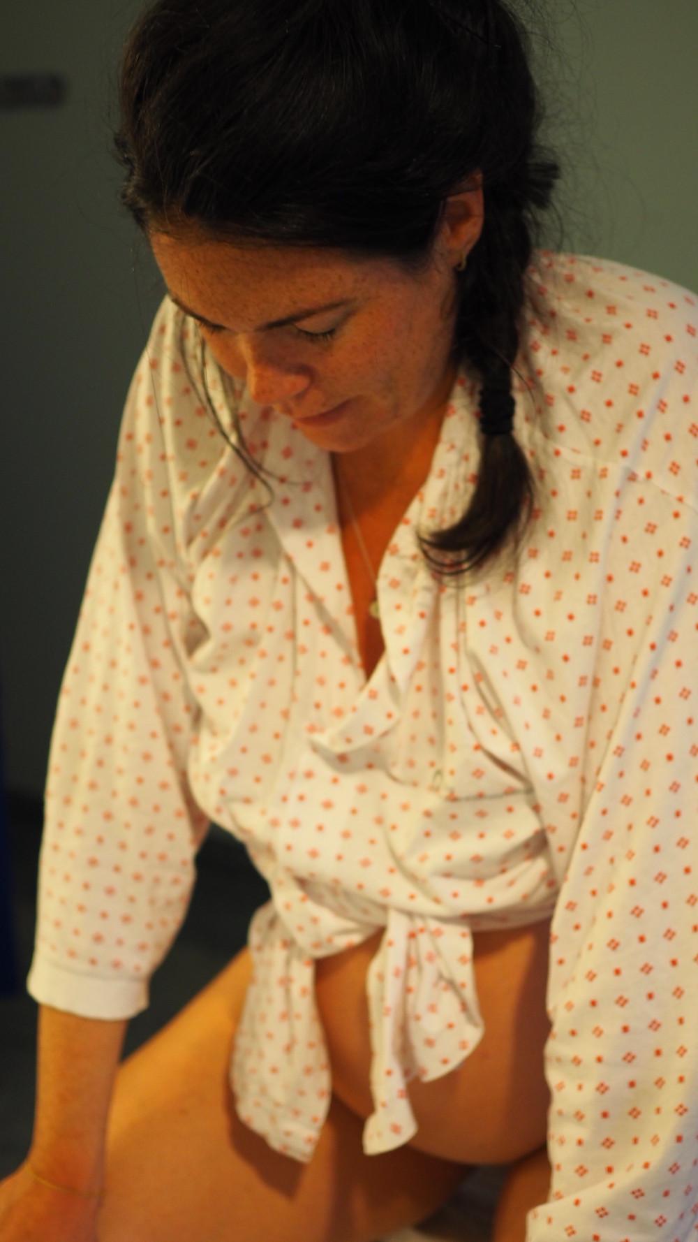 Margrete bruker nedoverpusten under fødsel