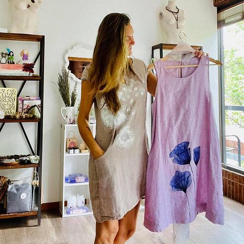 100% Organic Linen hand painted dress