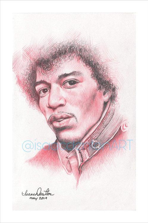 """Jimi Hendrix 5"""" x 8"""""""