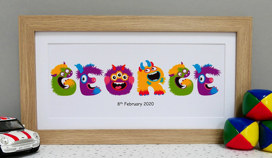 Framed furry monster lettering personalised name