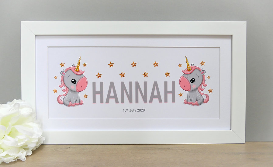 Framed grey & pink unicorn themed personalised name