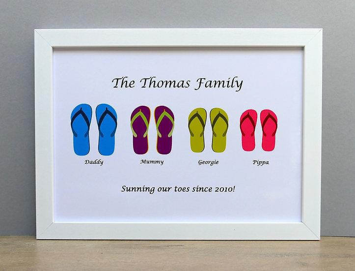 Flip flop family framed A4 print option 2
