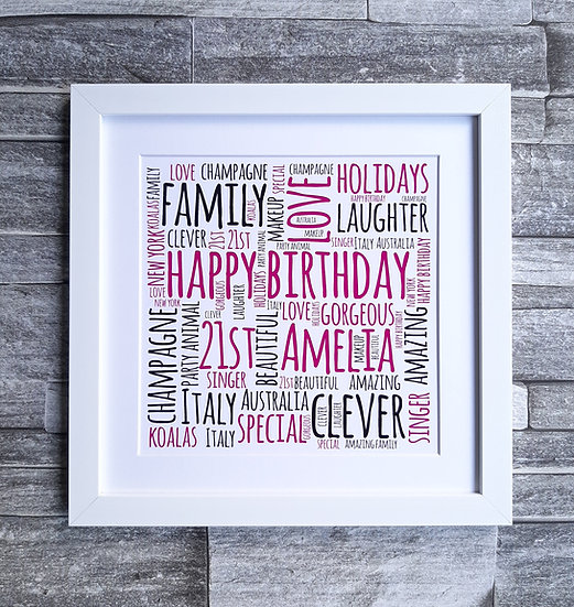 Framed square word art print
