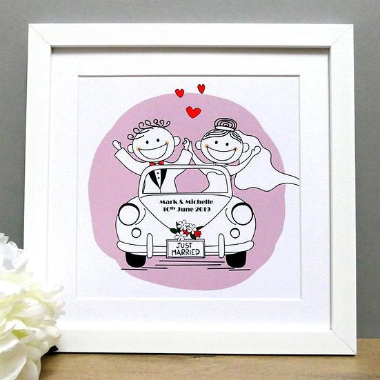 Framed wedding car print