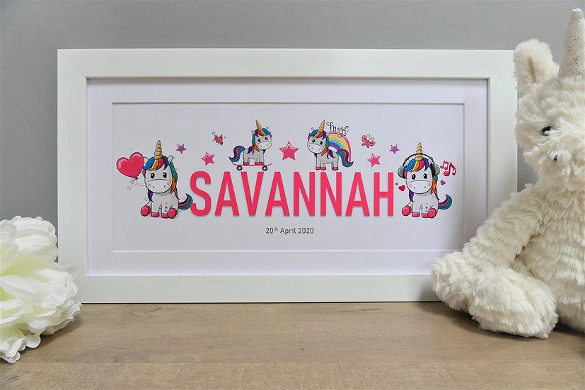 Framed rainbow unicorn themed personalised name
