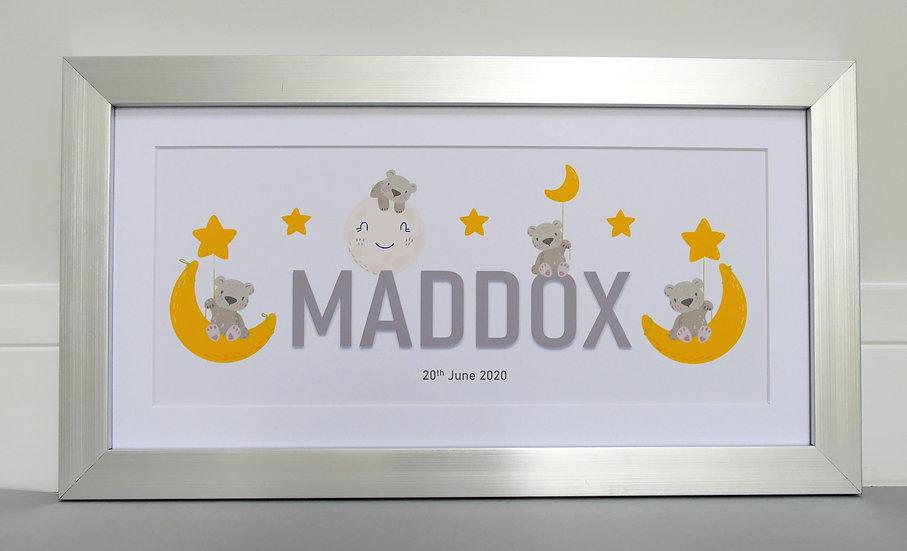 Framed bear themed personalised name