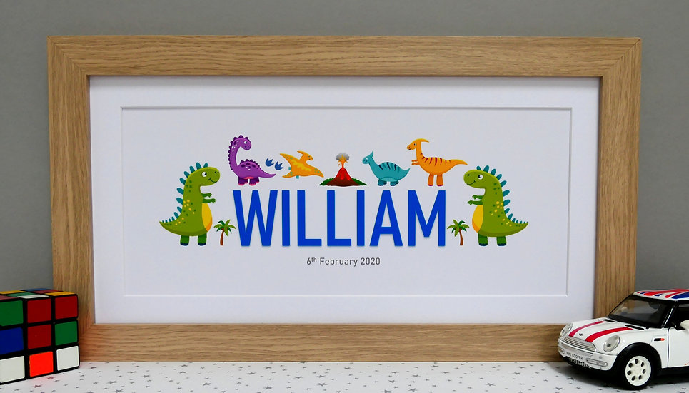 Framed dinosaur themed personalised name