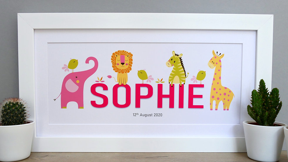 Framed animal themed personalised name