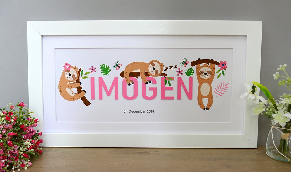 Framed sloth themed personalised name