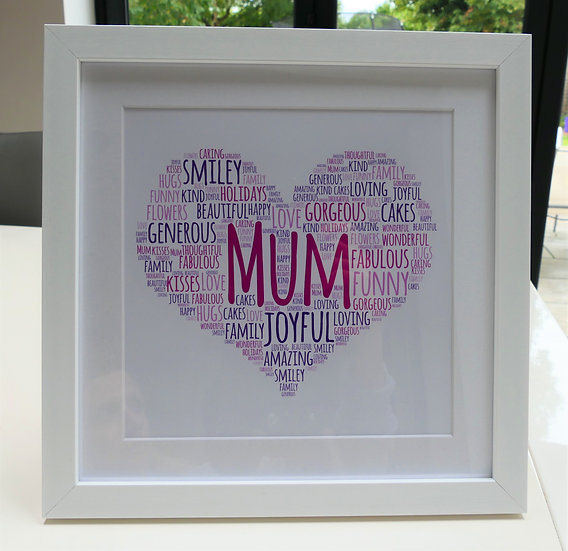 Framed heart word art print