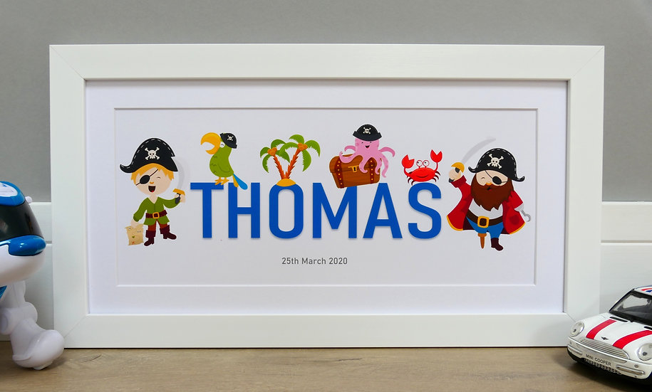 Framed pirate themed personalised name