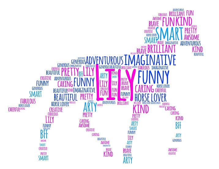 Printed horse word art