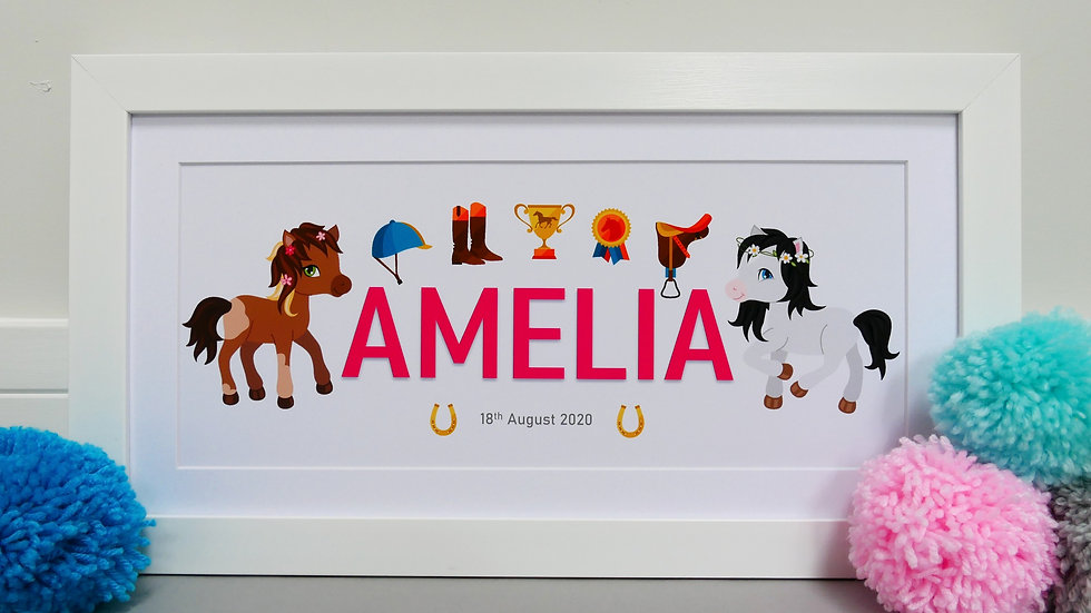 Framed horse themed personalised name