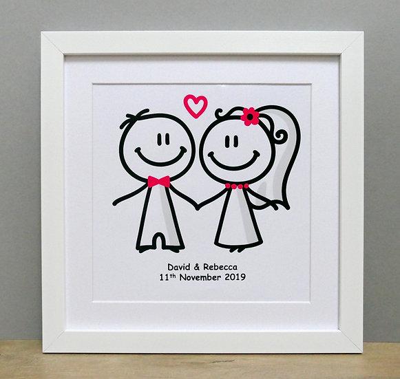 Framed wedding couple outline print
