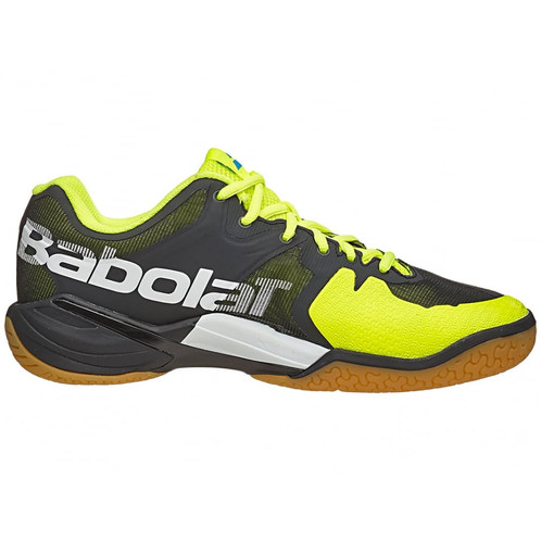 26839eff0800 These mens Babolat badminton shoes (new for 2016 in Black Yellow) are the  ideal footwear for any badminton player due to the lightweight shoe that  offers ...