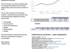 Fund Performance, December 2020