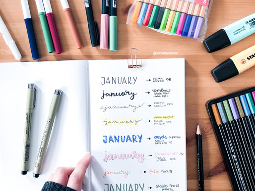 How-to-letter: January Bullet Journal header ideas