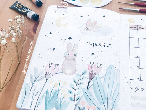 "PLAN WITH ME: April 2021 Bullet Journal Setup ""Sleeping Bunnies"""