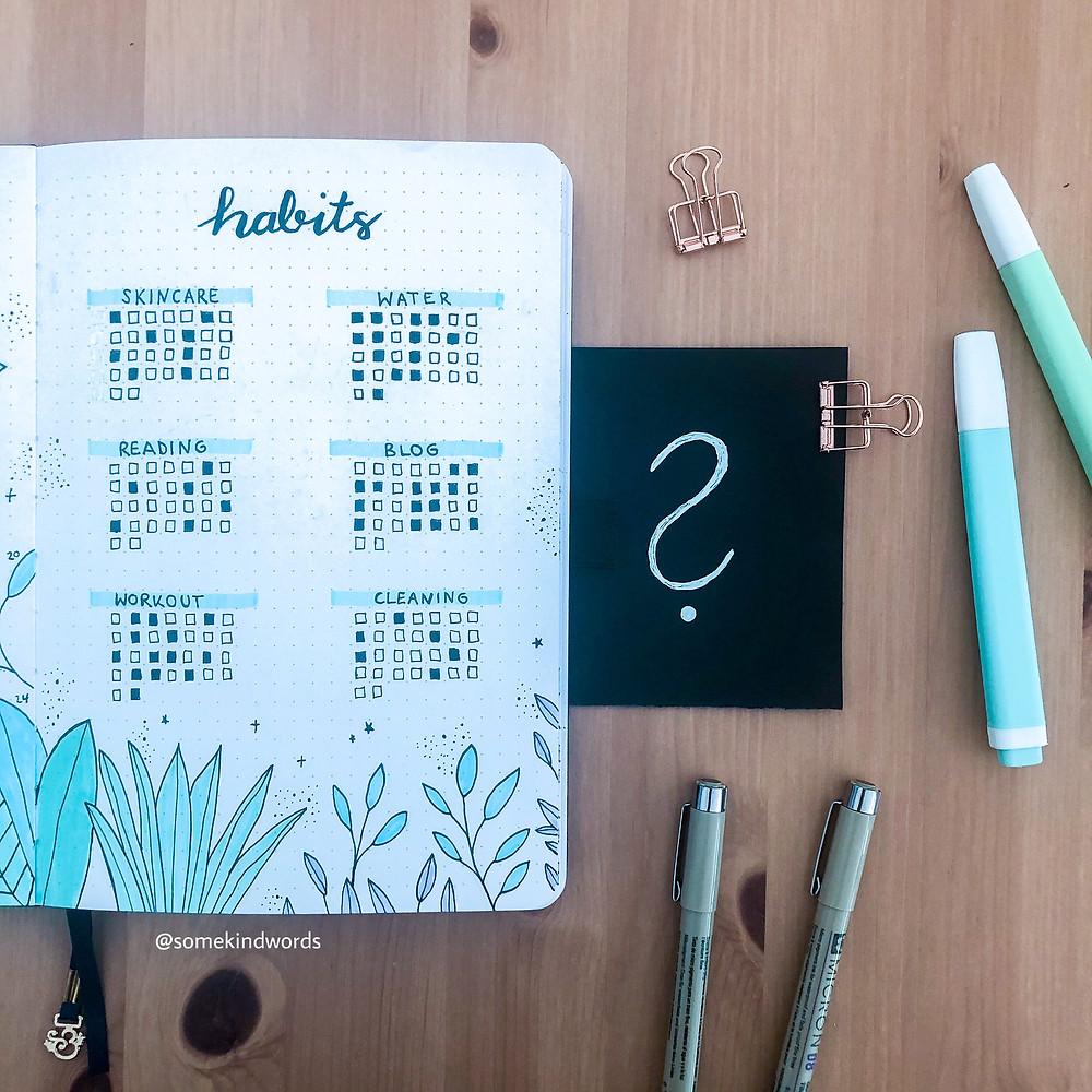 habit tracker, tracker ideen, bullet journal tracker, tracker layout, gewohnheiten aufschreiben, achtsamkeit, alltag gestalten, produktiv sein, habits, gewohnheiten, planer, kalender, bullet journal, bujo, bujo ideen, bullet journal inspiration, habits darstellen, bullet journal vorlage habits