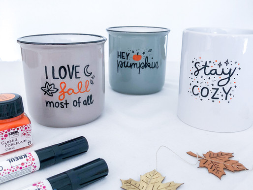 Autumn DIY: self-made mugs with Lettering and doodles +  free template