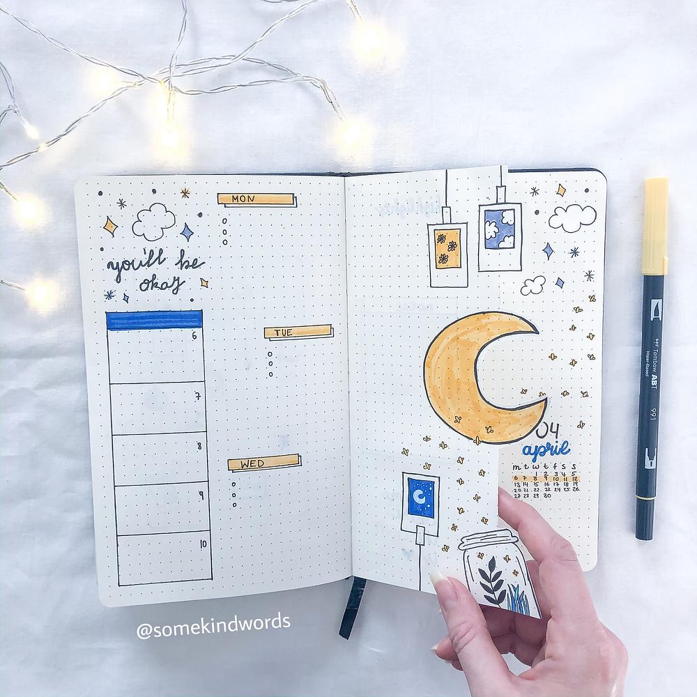Dutch Door, Bullet Journal, Mond und Sterne, Polaroid, Weekly Spread, April, Wochenübersicht, to do, Planer, Planung, Organisation, Notizbuch gestalten