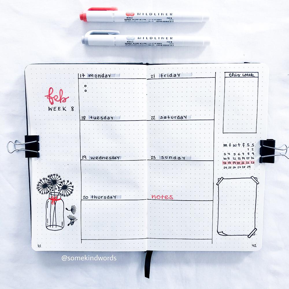 weekly spread, bulleet journal, wochenübersicht, übersicht, wöchentliche übersicht, weekly log, planner, weekly planner, wochenplan, woche planen, journalin, bullet journaling, bullet journal woche, to dos planen, alltag organisieren, spreads gestalten, bullet journal deutsch, bujo, blog, zeitmanagement, produktiv sein, blogpost, Bullet Journal Blog auf deutsch, dutch door, erstellen, kreativ werden, kalender selbst erstellen, layout idee, idee, inspiration