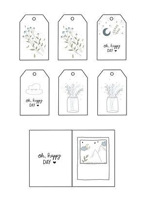 Geschenkanhänger zum ausdrucken, mit Blumen, Wolken, oh happy day, geburtstag, freundschaft, liebe, freund, schwester, mama, oma, DIY, kostenlos, vorlage, basteln, pdf, kostenlos, zum bechriften, zum basteln für Kinder, zum verschenken