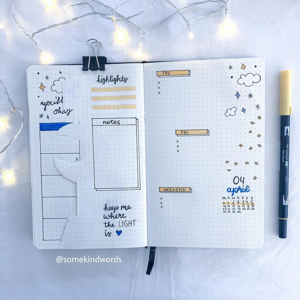 Dutch Door, Weekly Spread, Wochenübersicht, Übersicht, Spreads, Organisation, Planung, Planner, Notebook, Notizbuch, Bullet Journal, Bujo, notes, to dos, layout, ausschnitt