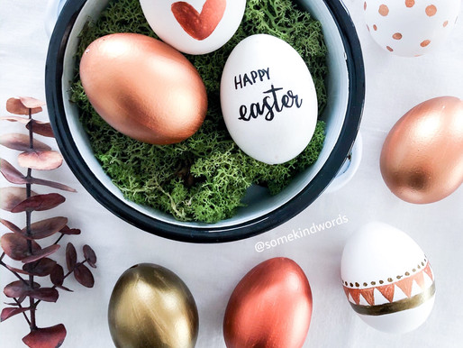 Easter DIY: Just blow out eggs & paint them with copper metallic colors and handlettering