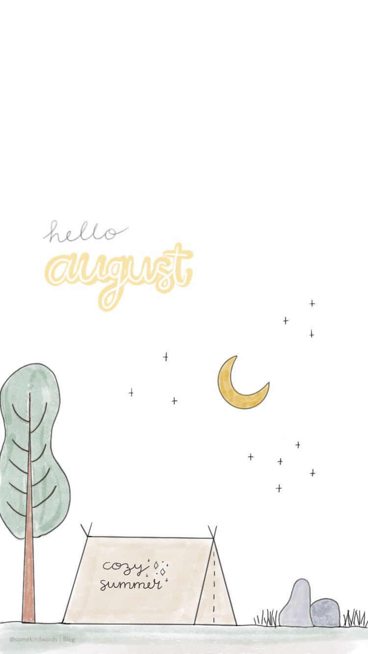 Wallpaper, free wallpaper, kostenlos, hintergrundbild, hintergrund handy, iphone, tablet, handy, mobile, august, wallpaper, freebie, sommer nacht, aesthetic, wasserfarben, journaling, bullet journal, hello august, mond, sterne, zelt, lagerfeuer, baum, natur, süß, handmade