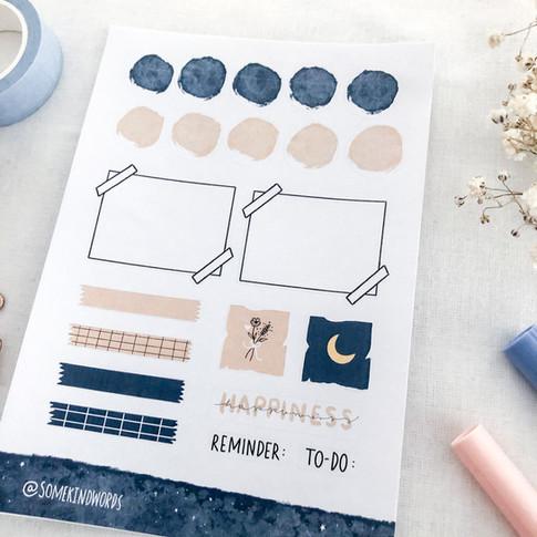 journaling stickers blue 3 @somekindword