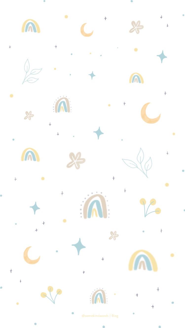 Wallpaper, free wallpaper, kostenlos, hintergrundbild, hintergrund handy, iphone, tablet, handy, mobile, august, wallpaper, freebie, sommer nacht, aesthetic, wasserfarben, journaling, bullet journal, hello august, mond, halbmond, rainbow, regenbogen, boho, süß, colorful, farbenfroh, flower, blumen, gelb, blau, beige