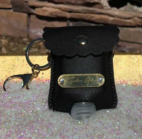 Random Glam Leather Hand Sanitizer Keychain