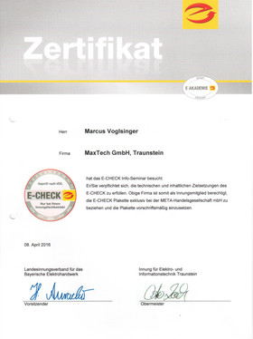Zertitikat E-Check Info-Seminar