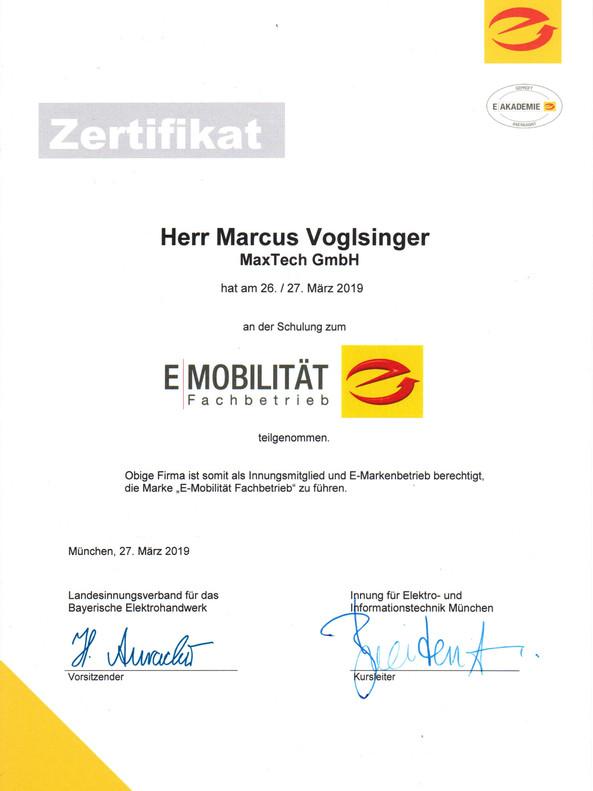 Zertifikat E-Mobilität Fachbetrieb